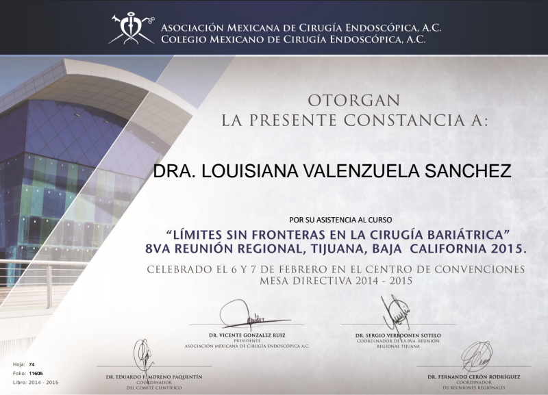 Dr. Louisiana Valenzuela Certification