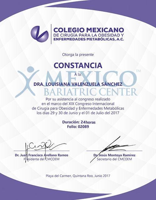 Dr. Louisiana Valenzuela-Certificate-10-17-01