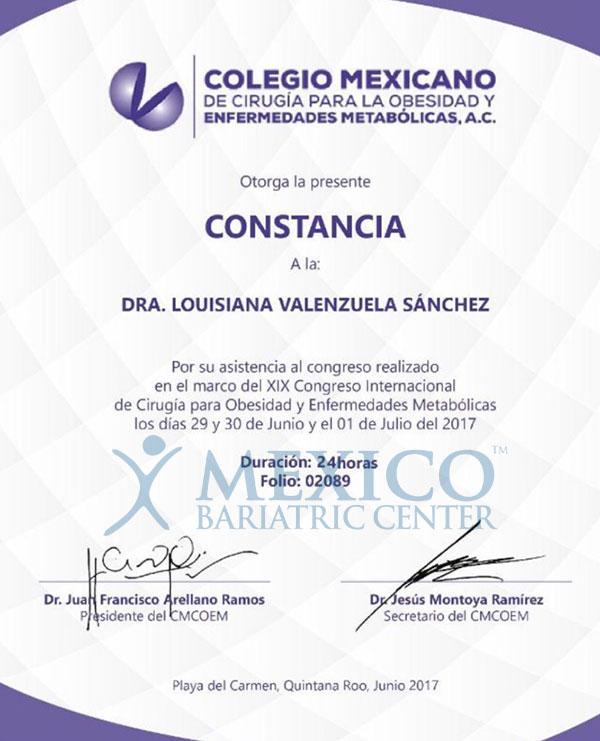 Dr. Louisiana Valenzuela-Certificate-10-17-03