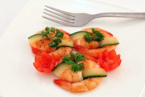 shrimp and vegetables, four bite satisfier
