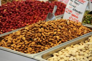 Mixed nuts at grocery store, health foods