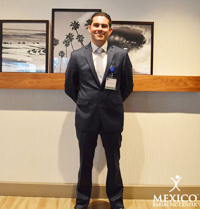 Mexico Bariatric Center. Los Angeles bariatric surgery seminar 2016. Dr. Alejandro Gutierrez outside of the conference room.