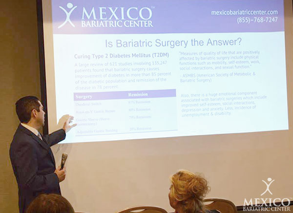 Mexico Bariatric Center. Los Angeles bariatric surgery seminar 2016. Dr. Alejandro Gutierrez discussing bariatric surgery as a solution for obesity.