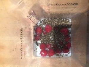 Healthy Almond Butter & Raspberry Pudding Recipe, raspberries in blender
