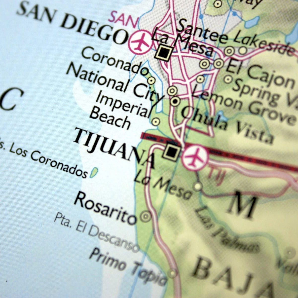 Tijuana Mexico Map of Border from San Diego to Tijuana Baja California