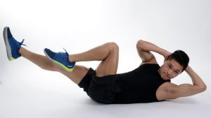home exercise program, bicycle crunches