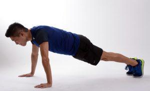 home exercise program, burpees, push-up