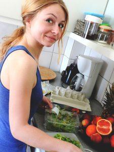 healthy family tips, woman making salad