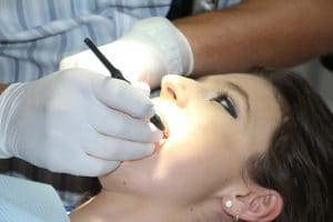 almond nutrition, woman at the dentist