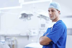 When Quick Weight Loss Becomes Risky Quick weight loss. Surgeon in blue scrubs