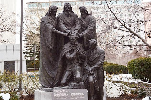 Restoration of the Melchizedek Priesthood statue at the Temple Square in Salt Lake City, Utah.