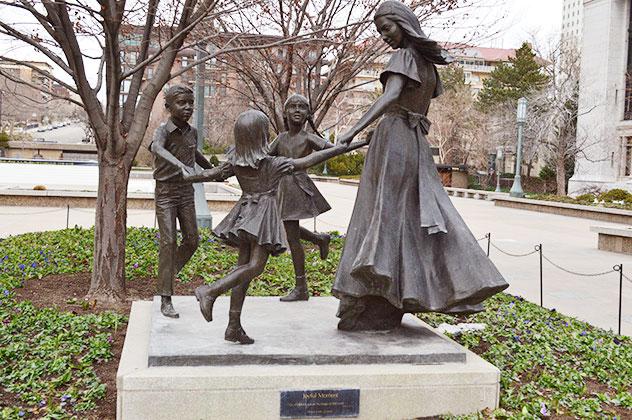 Joyful Moment statue located at the Temple Square in Salt Lake City, Utah.