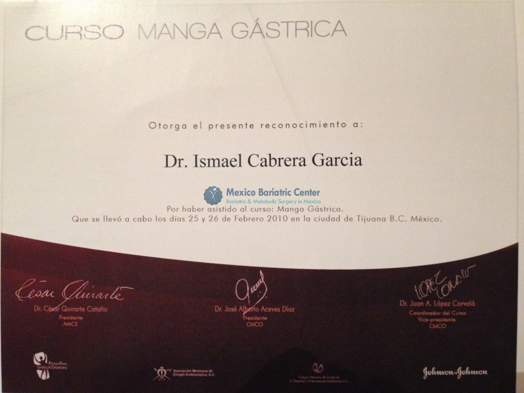Dr. Ismael Cabrera Certifications - Mexico Bariatric Center