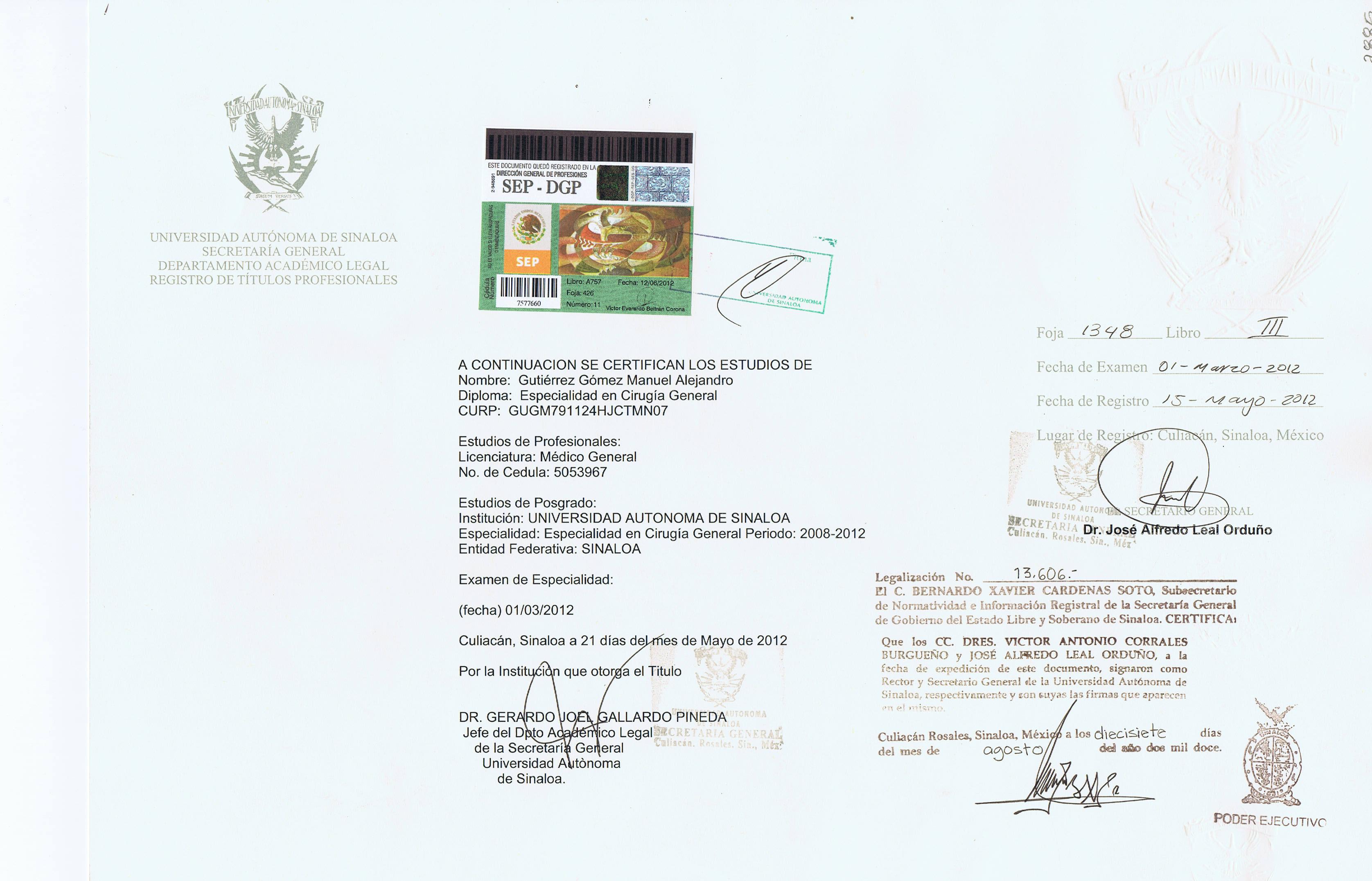 Dr. Rodriguez Lopez Certification