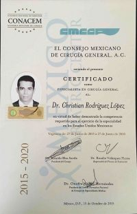 Dr Rodriguez Lopez - Board Certification