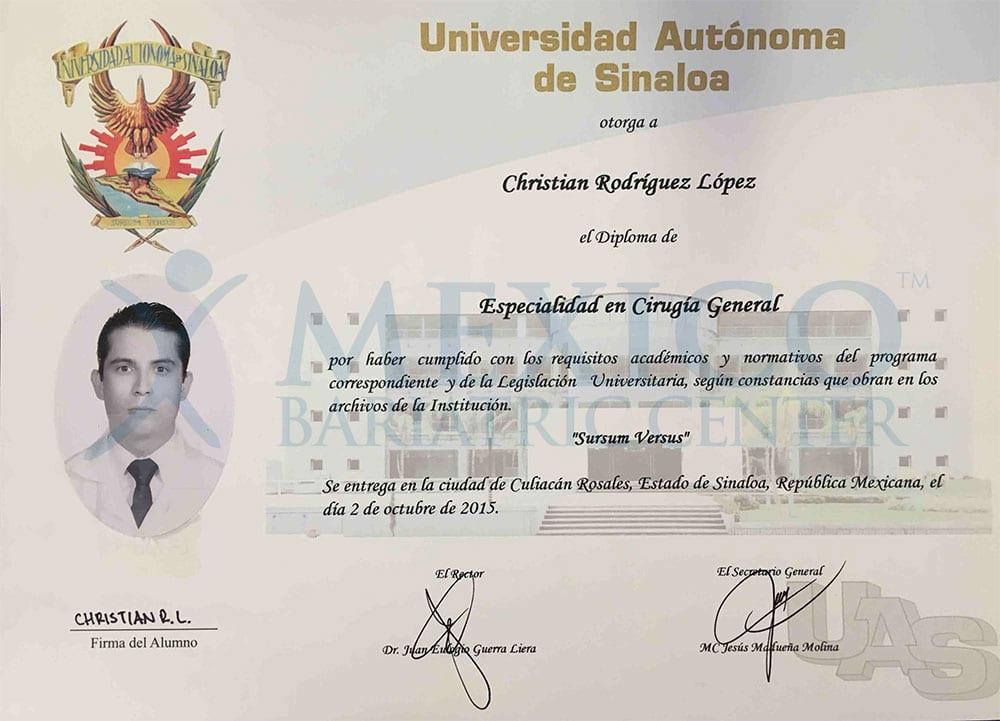 Dr Rodriguez Lopez - Titulo cirugia frente