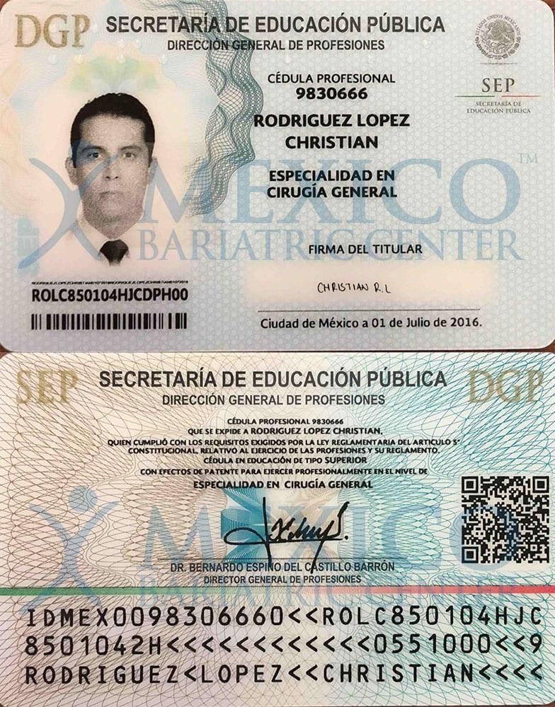 Dr Rodriguez Lopez Certificate - Cédula especialidad frente