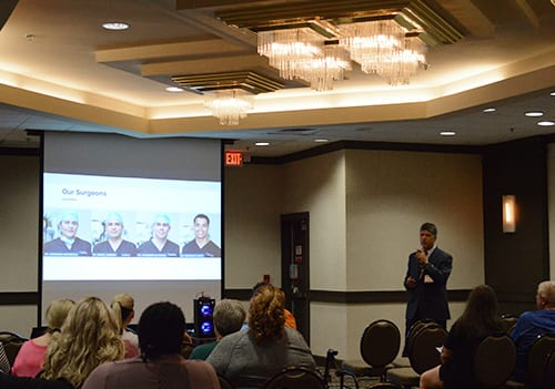 Founder of Mexico Bariatric Center, Ron Elli, Ph.D. speaking to guests at the 2018 Houston, TX bariatric surgery seminar