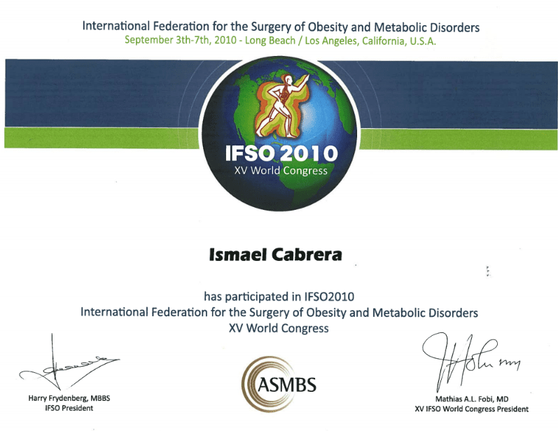 Dr. Ismael Cabrera Garcia - Certificate of Attendance IFS015 World Congress ASMBS - Obesity and Metabolic Disorders
