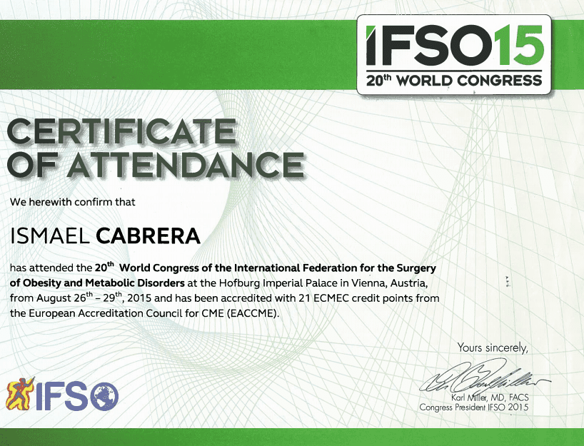 Dr. Ismael Cabrera Garcia - Certificate of Attendance IFS015 World Congress - Bariatric Surgery Certification
