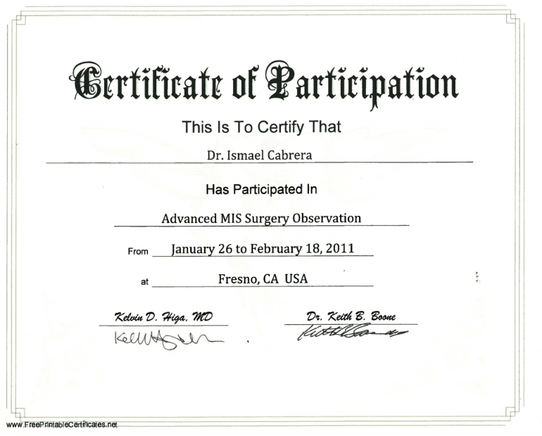 Dr. Ismael Cabrera Garcia - Certificate of Participation - Advanced MIS Surgery Observation - Bariatric Surgery Certification
