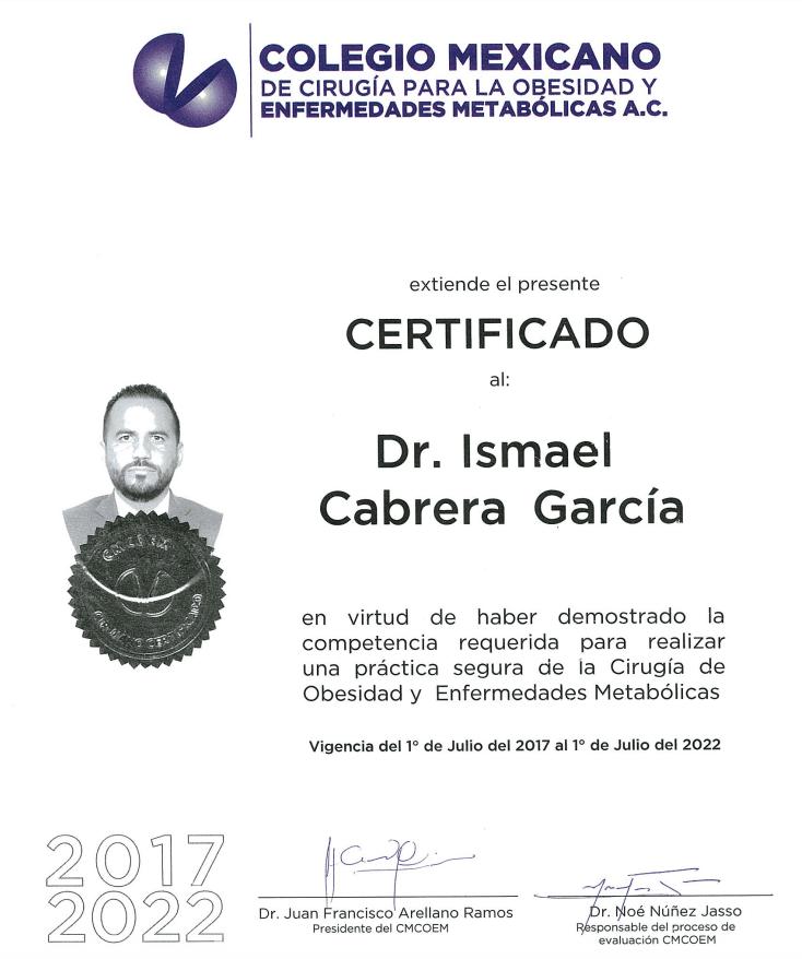 Dr. Ismael Cabrera Garcia - Colegio Mexicano Certification