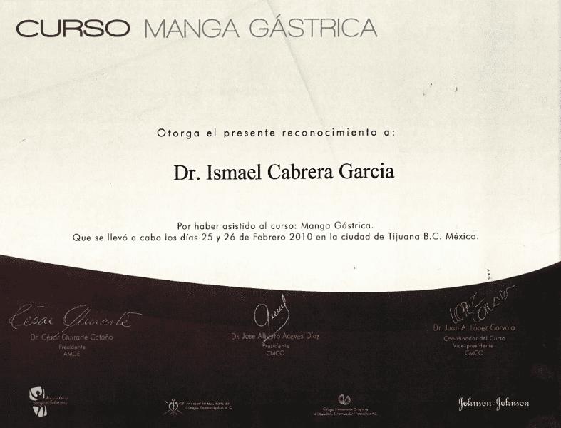 Dr. Ismael Cabrera Garcia - Curso Manga Gastrica - Bariatric Surgery Certificate