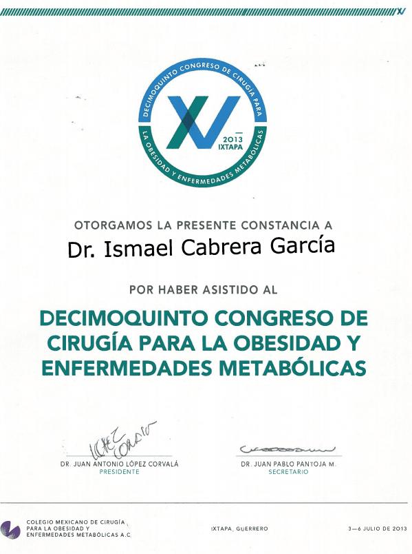 Dr. Ismael Cabrera Garcia - Decimoquinto Congress De Cirugia