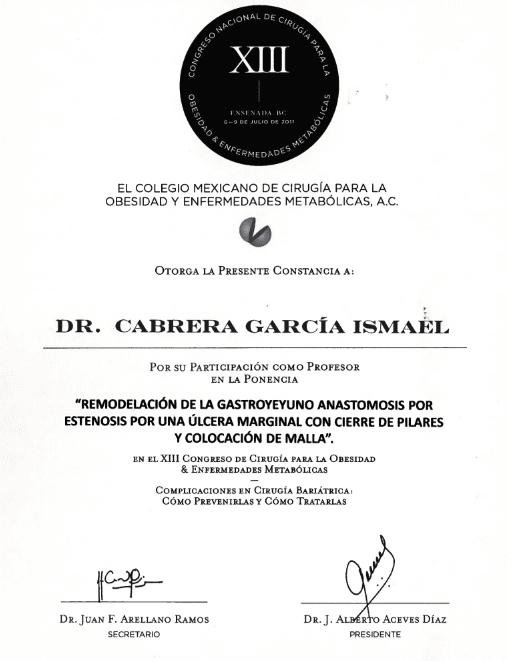 Dr. Ismael Cabrera Garcia - El Colegio Mexicano De Cirugia Para LA Obesidad Y Enfermedades Metabolicas