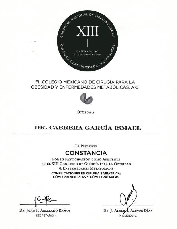 Dr. Ismael Cabrera Garcia - El Colegio Mexicano - La Presente Constancia Certification