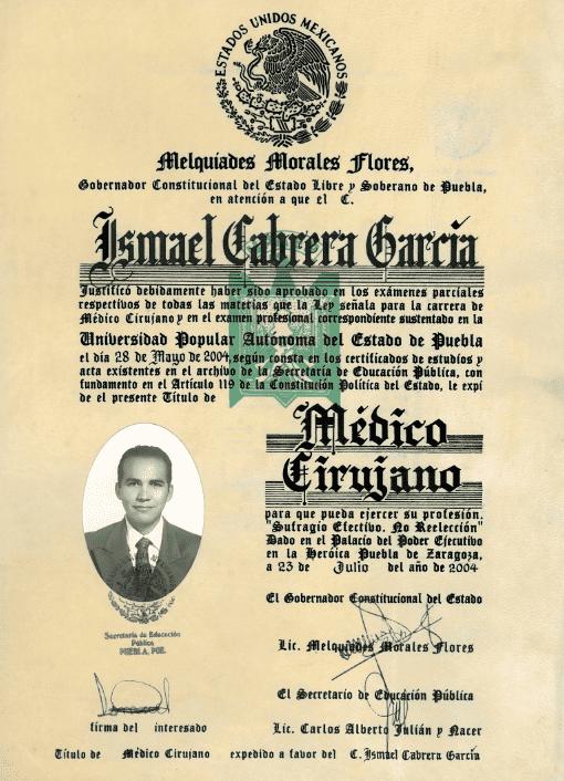 Dr. Ismael Cabrera Garcia - Medico Cirujano - Melquiades Morales Flores