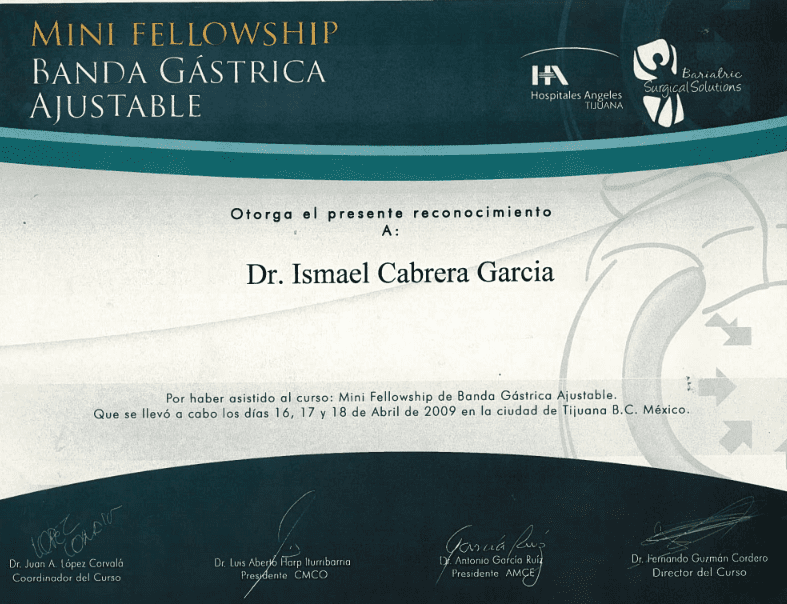 Dr. Ismael Cabrera Garcia - Mini Fellowship Banda Gastrica Ajustable - Bariatric Surgery Solutions
