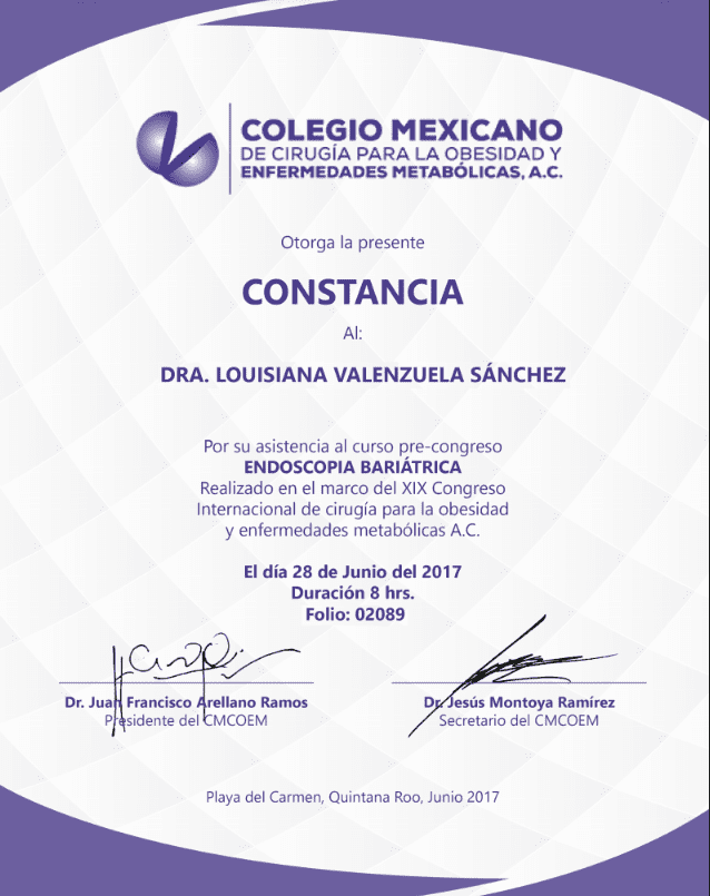 Dr. Louisiana Valenzuela - Colegio Mexicano - Constancia Endoscopic Bariatric Surgery