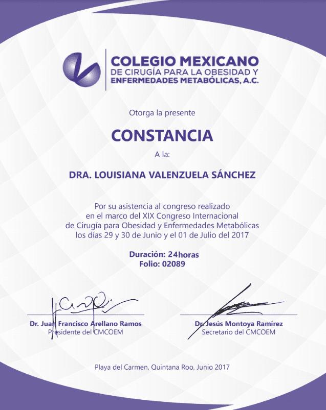 Dr. Louisiana Valenzuela - Colegio Mexicano - Constancia