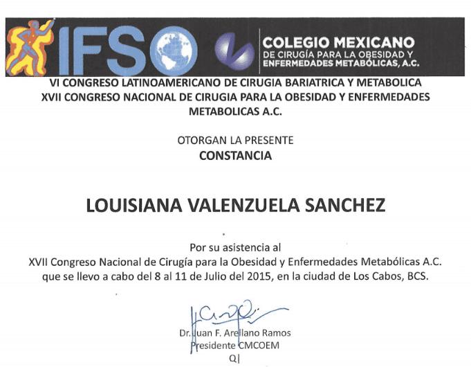Dr. Louisiana Valenzuela - Colegio Mexicano - IFSO Constancia - Bariatric Certification