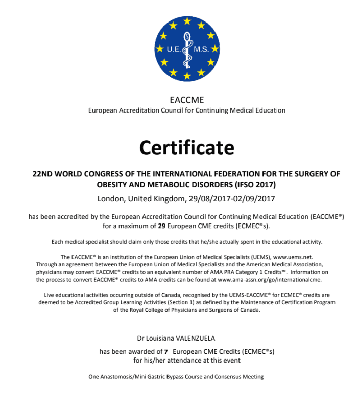 Dr. Louisiana Valenzuela - EACCME European Accreditation Council for Continuing Medical Education