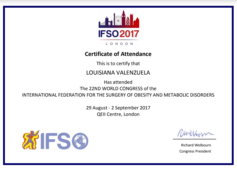 Dr. Louisiana Valenzuela - IFO2017 London - Certificate of Attendance