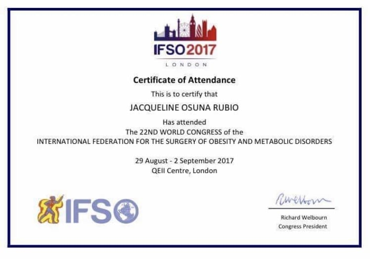 Dr. Jacqueline Osuna at IFSO International Federation for the Surgery of Obesity 2017 Certifications