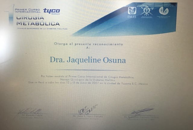 Dr. Jacqueline Osuna at Metabolic Surgery Certificate