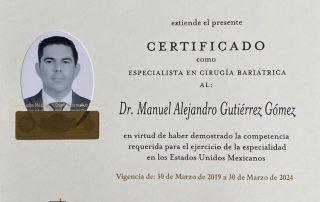 Dr. Alejandro Gutierrez - El Consejo Mexico De Cirugia General - Board Certified Bariatric Surgeon