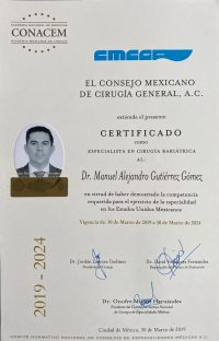 Dr. Alejandro Gutierrez - El Consejo Mexico De Cirugia General - Board Certified Bariatric Surgeon