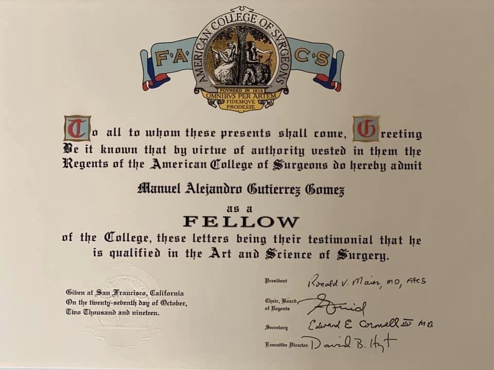 Dr. Alejandro Gutierrez FACS Certificate 2019