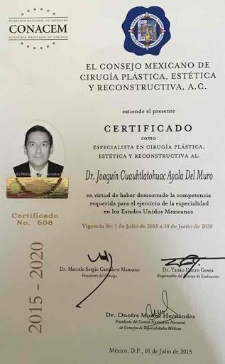 Dr Joaquin Ayala Del Muro Certification