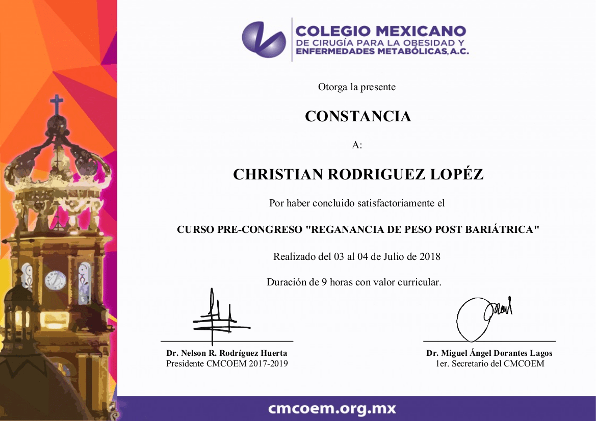 Curso Precongreso Reganancia de Peso Post Bariatrica - Dr. Christian Rodriguez Lopez Certification