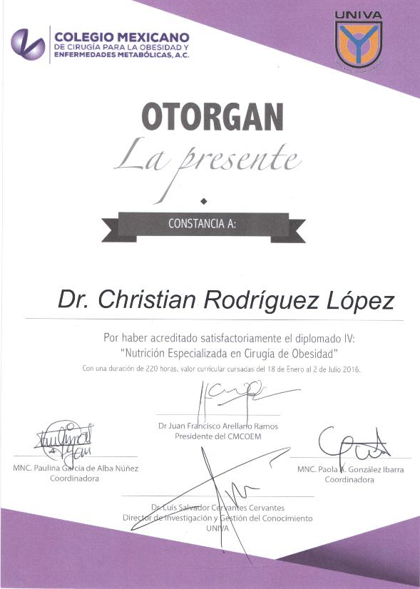 Nutricion Especializada en Cirugia de Obesidad Frente - Dr. Christian Rodriguez Lopez Certification