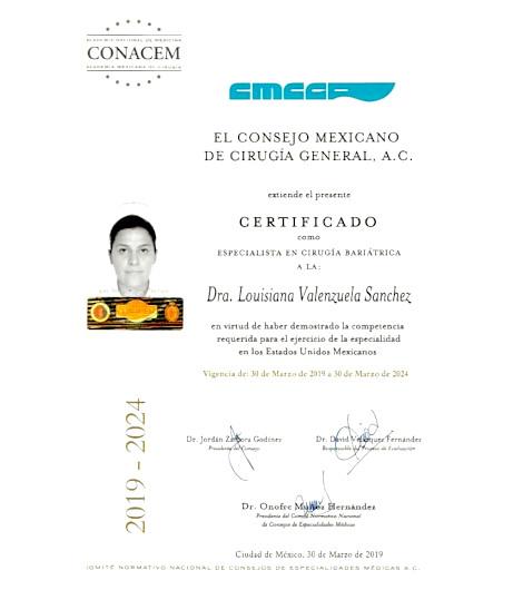 Dr. Louisiana Valenzuela - Board Certification