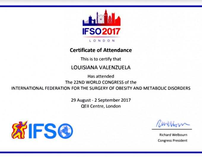 Dr. Louisiana Valenzuela - Colegio Mexicano - IFSO Constancia - Bariatric Surgery Certification