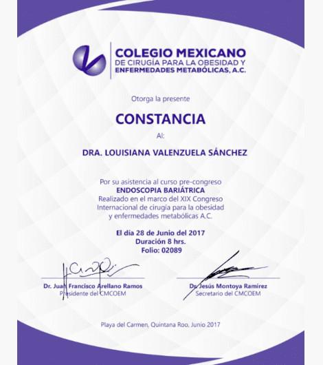 Dr. Louisiana Valenzuela - Constancia Certification