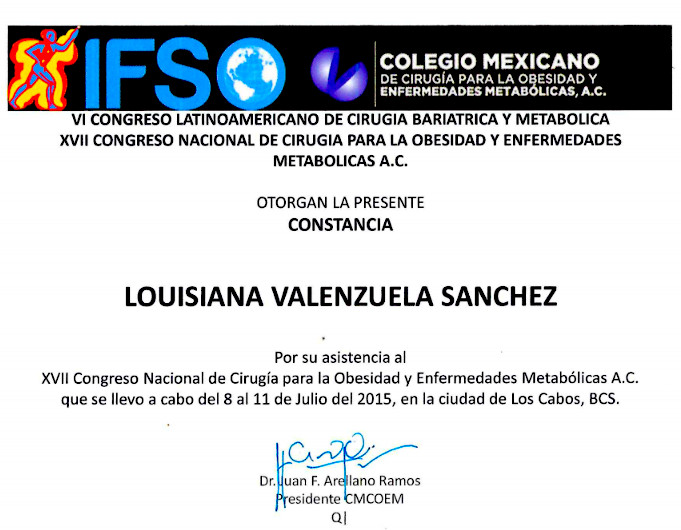 Dr. Louisiana Valenzuela - IFSO Constancia - Bariatric Surgery Certification