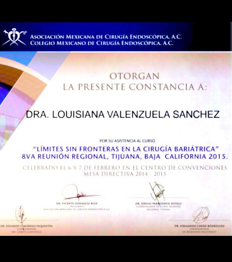 Dr. Louisiana Valenzuela Sanchez - Endoscopic Surgery Association Certification